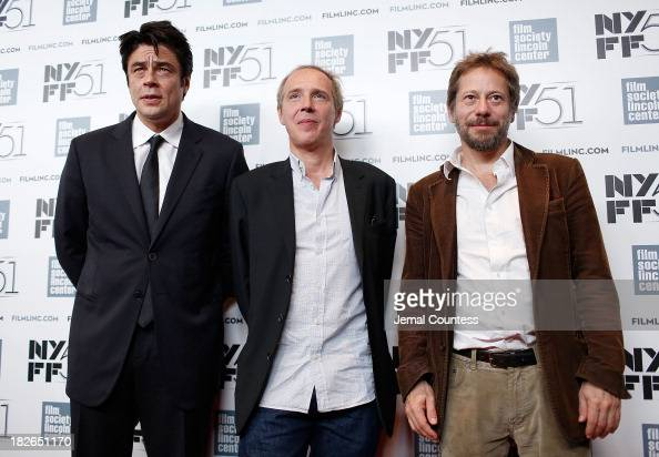 Actor Benicio del Toro director Arnaud Desplechin and actor Mathieu Amalric attend the 'Jimmy P Psychotherapy Of A Plains Indian' premiere during the...