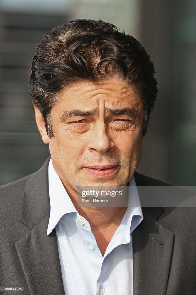 Actor <a gi-track='captionPersonalityLinkClicked' href=/galleries/search?phrase=Benicio+Del+Toro&family=editorial&specificpeople=203277 ng-click='$event.stopPropagation()'>Benicio Del Toro</a> poses during a photocall for 'Savages' at Club 23 on October 11, 2012 in Melbourne, Australia.