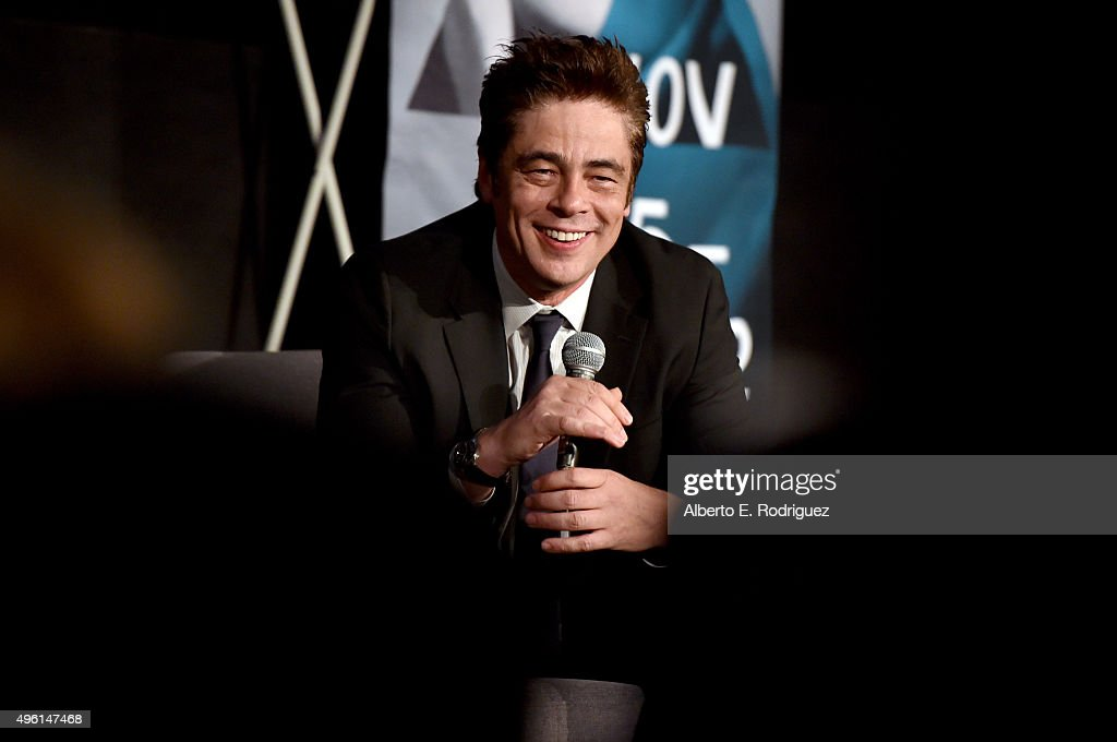Actor Benicio del Toro speaks onstage at 'A Conversation with Benicio Del Toro' during AFI FEST 2015 presented by Audi at the Egyptian Theatre on November 7, 2015 in Hollywood, California.