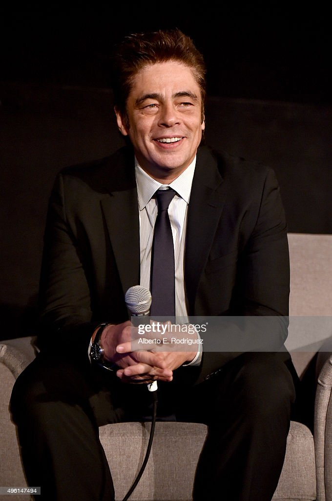 Actor Benicio del Toro speaks onstage at 'A Conversation with <a gi-track='captionPersonalityLinkClicked' href=/galleries/search?phrase=Benicio+Del+Toro&family=editorial&specificpeople=203277 ng-click='$event.stopPropagation()'>Benicio Del Toro</a>' during AFI FEST 2015 presented by Audi at the Egyptian Theatre on November 7, 2015 in Hollywood, California.