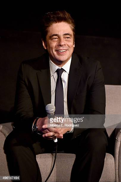 Actor Benicio del Toro speaks onstage at 'A Conversation with Benicio Del Toro' during AFI FEST 2015 presented by Audi at the Egyptian Theatre on...