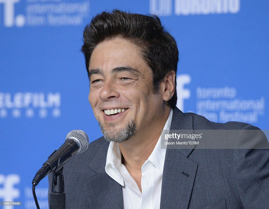 Actor Benicio del Toro speaks onstage at 'Escobar Paradise Lost' Press Conference during the 2014 Toronto International Film Festival at TIFF Bell...