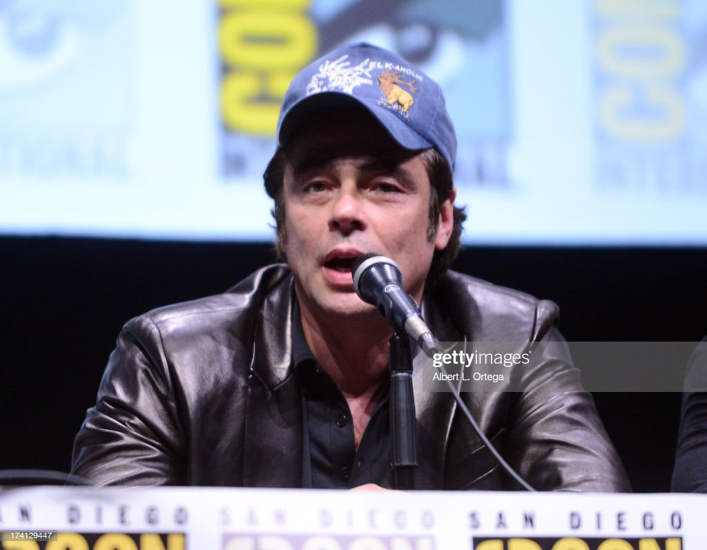 Actor Benicio Del Toro speaks onstage at Marvel Studios 'Thor: The Dark World' and 'Captain America: The Winter Soldier' during Comic-Con International 2013 at San Diego Convention Center on July 20, 2013 in San Diego, California.