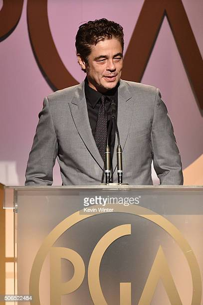 Actor Benicio del Toro speaks onstage at the 27th Annual Producers Guild Of America Awards at the Hyatt Regency Century Plaza on January 23 2016 in...