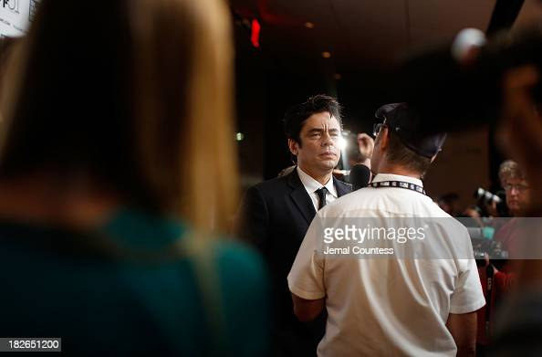 Actor Benicio del Toro speaks to the media at the 'Jimmy P Psychotherapy Of A Plains Indian' premiere during the 51st New York Film Festival at Alice...