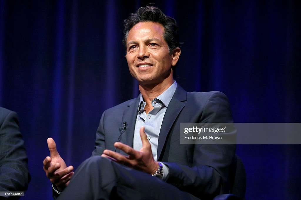 Actor <a gi-track='captionPersonalityLinkClicked' href=/galleries/search?phrase=Benjamin+Bratt&family=editorial&specificpeople=203040 ng-click='$event.stopPropagation()'>Benjamin Bratt</a> speaks onstage during the 'Latino Americans' panel discussion at the PBS portion of the 2013 Summer Television Critics Association tour at the Beverly Hilton Hotel on August 7, 2013 in Beverly Hills, California.