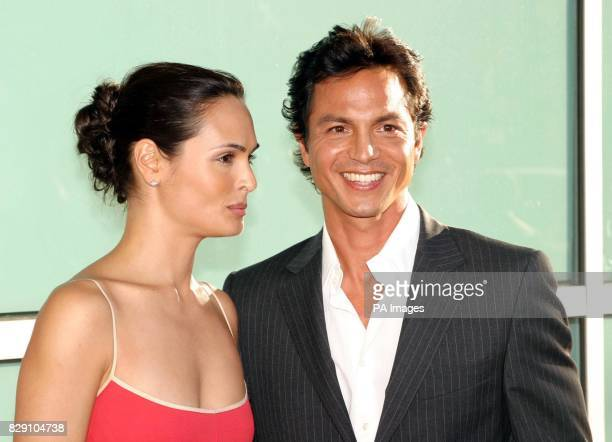 Actor Benjamin Bratt with his wife Talisa Soto arrive for the premiere of his latest film Catwoman held at the Cinerama Dome Theatre Los Angeles USA