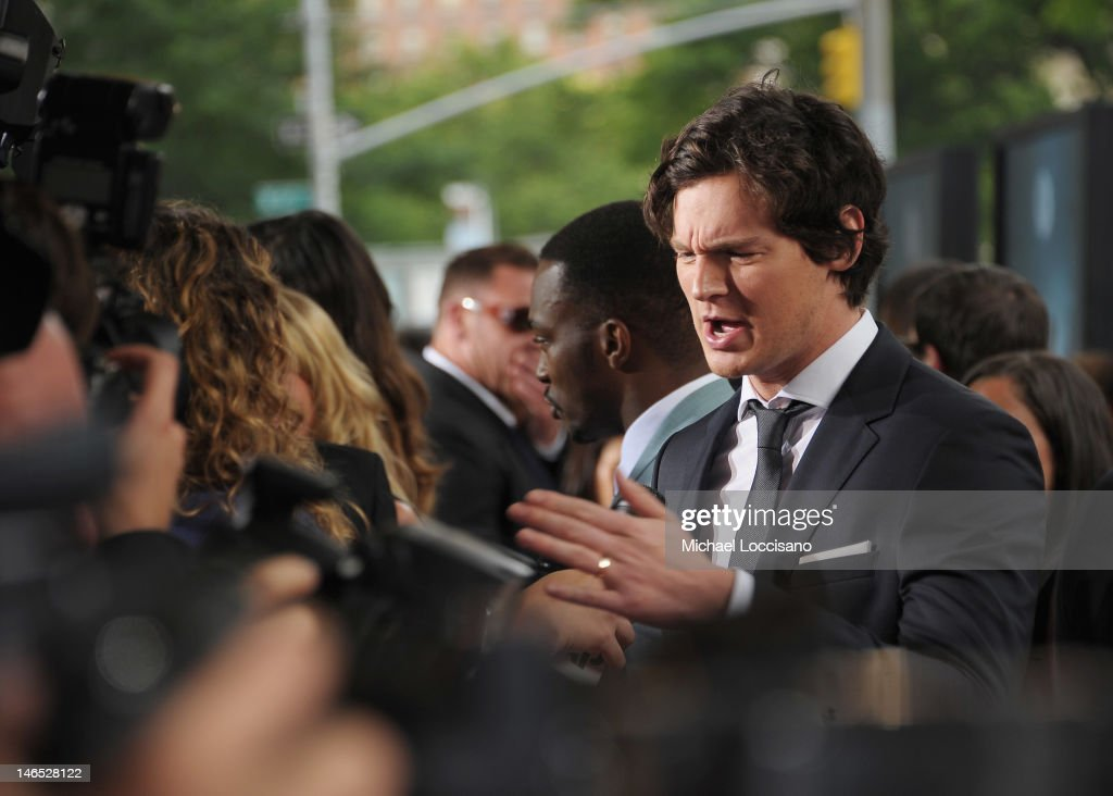Actor <a gi-track='captionPersonalityLinkClicked' href=/galleries/search?phrase=Benjamin+Walker+-+Actor&family=editorial&specificpeople=3953750 ng-click='$event.stopPropagation()'>Benjamin Walker</a> is interviewed during the 'Abraham Lincoln: Vampire Slayer 3D' New York Premiere at AMC Loews Lincoln Square 13 theater on June 18, 2012 in New York City.