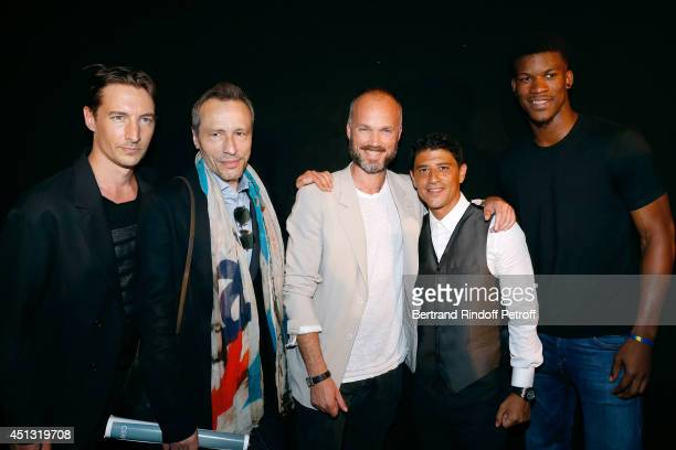 Actor Benn Northover actor Michael Wincott Fashion Designer Aldo Maria Camillo actor Said Taghmaoui and NBA player Jimmy Butler pose after the...