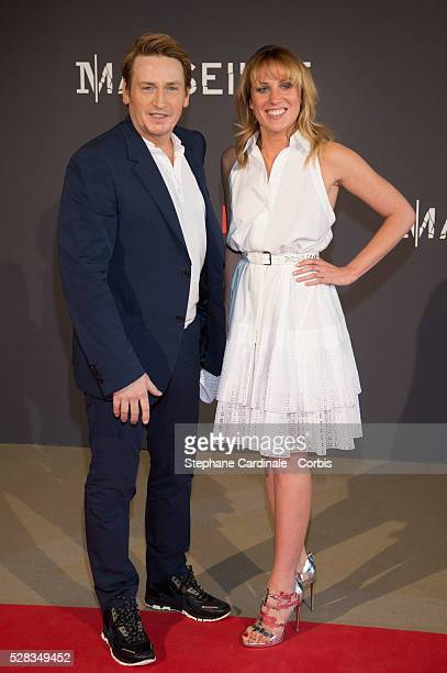 Actor Benoit Magimel and his girlfriend attend the 'Marseille' Netflix TV Serie Wold Premiere At Palais Du Pharo In Marseille on May 4 2016 in...