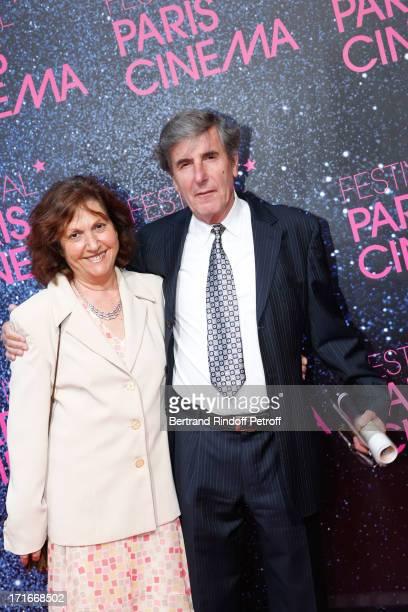 Actor Bernard Menez and his wife pose at Festival Paris Cinema Opening night and premiere of 'La Venus a la fourrure' held at Gaumont Capucines on...