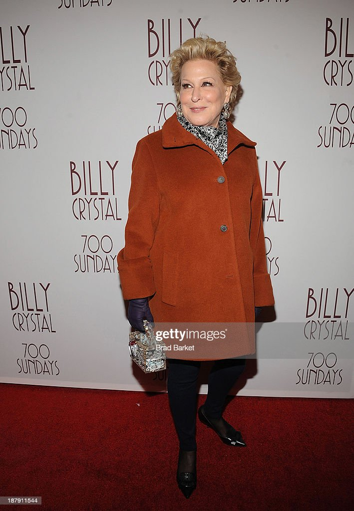 Actor <a gi-track='captionPersonalityLinkClicked' href=/galleries/search?phrase=Bette+Midler&family=editorial&specificpeople=201551 ng-click='$event.stopPropagation()'>Bette Midler</a> attends the Billy Crystal's '700 Sundays' Broadway opening night at Imperial Theatre on November 13, 2013 in New York City.