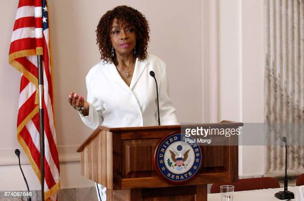 Actor Beverly Todd speaks at the Media Solutions Summit at the Russell Senate Office Building on April 27 2017 in Washington DC The summit was held...