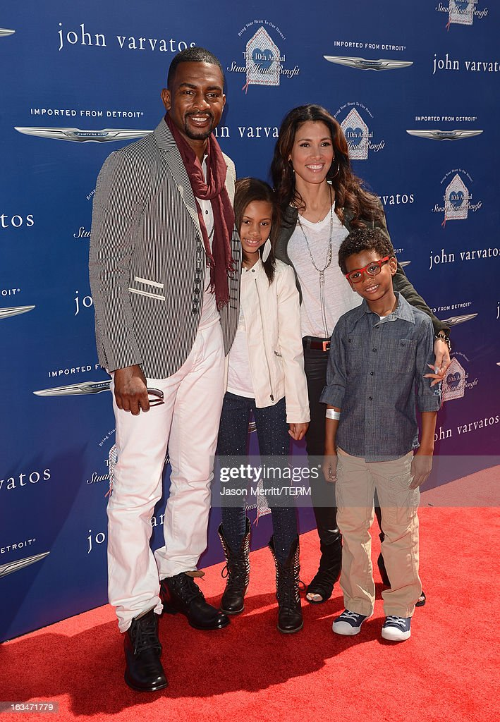 Actor Bill Bellamy and Kristen Bellamy, Bailey Ivory-Rose Bellamy, and Baron Bellamy attend the John Varvatos 10th Annual Stuart House Benefit presented by Chrysler, Kids Tent by Hasbro Studios, at John Varvatos Los Angeles on March 10, 2013 in Los Angeles, California.