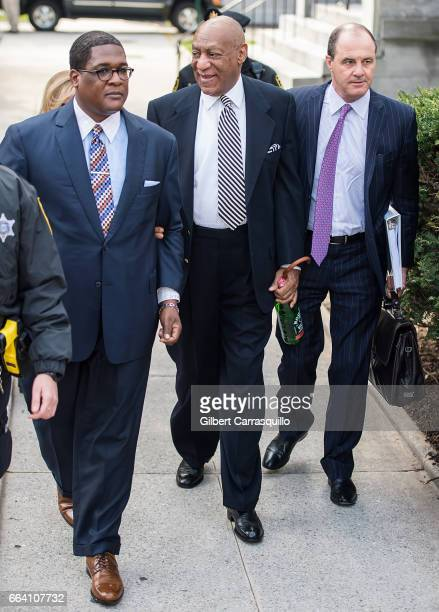Actor Bill Cosby and criminal defense attorney Brian McMonagle return to court for a pretrial hearing at Montgomery County Courthouse on April 3 2017...