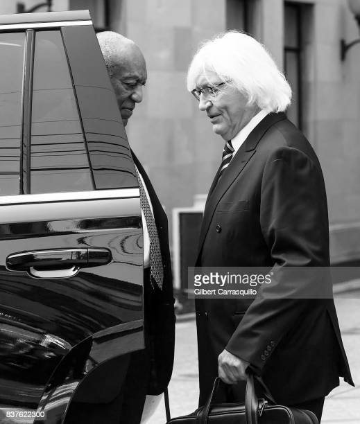 Actor Bill Cosby and new attorney Thomas Mesereau are seen arriving to Montgomery County Courthouse prior a pretrial hearing to discuss Cosby's new...