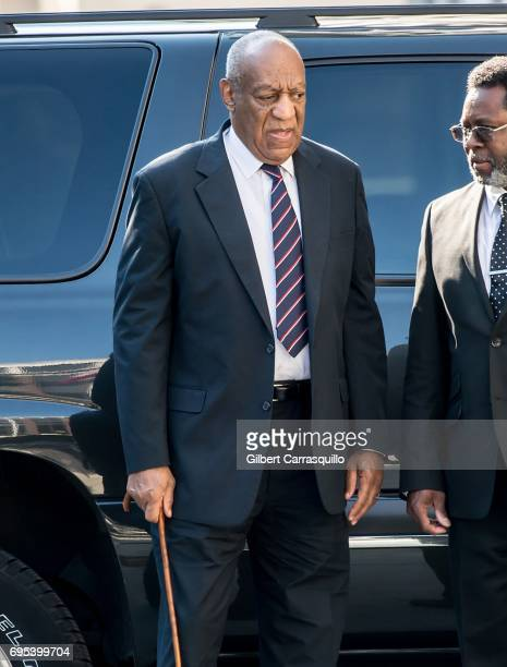 Actor Bill Cosby arrives at Bill Cosby Trial at Montgomery County Courthouse on June 12 2017 in Norristown Pennsylvania