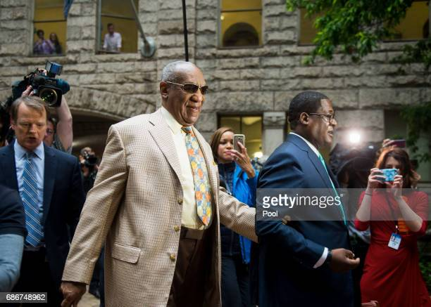 Actor Bill Cosby arrives at the Allegheny County Courthouse for the first day of jury selection in his sexual assault case on May 22 2017 in...