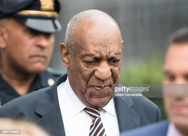 Actor Bill Cosby is seen leaving the first day of his court trial at Montgomery County Courthouse on June 5 2017 in Norristown Pennsylvania