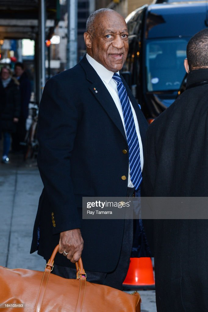 Actor <a gi-track='captionPersonalityLinkClicked' href=/galleries/search?phrase=Bill+Cosby&family=editorial&specificpeople=206281 ng-click='$event.stopPropagation()'>Bill Cosby</a> leaves the 'Late Show With David Letterman' taping at the Ed Sullivan Theater on March 19, 2013 in New York City.