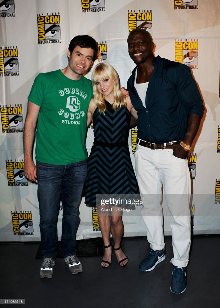 Actor Bill Hader, actress Anna Faris and actor Terry Crewes during Comic-Con International at San Diego Convention Center on July 19, 2013 in San Diego, California.