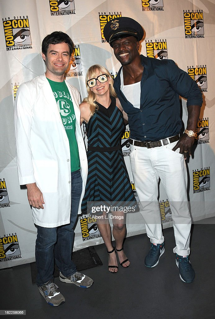 Actor Bill Hader, actress Anna Faris and actor Terry Crews attend The Sony and Screen Gems Panel featuring Cloudy With A Chance Of Meatballs 2 as part of Comic-Con International 2013 held at San Diego Convention Center on Friday July 19, 2012 in San Diego, California.