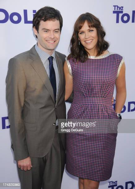 Actor Bill Hader and director/writer Maggie Carey arrive at the Los Angeles premiere of 'The To Do List' at Regency Bruin Theatre on July 23 2013 in...
