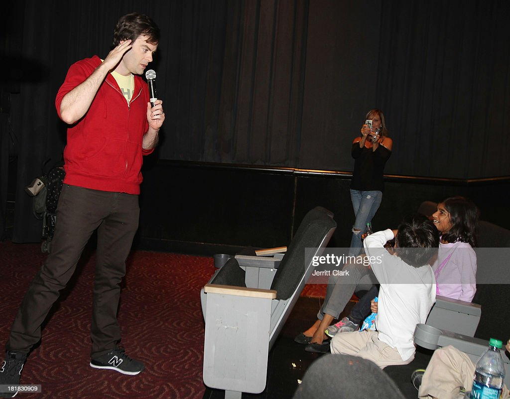 Actor Bill Hader answers questions from audience members at The Mom's Screening Of 'Cloudy With A Chance Of Meatballs 2' at AMC Lincoln Square Theater on September 25, 2013 in New York City.