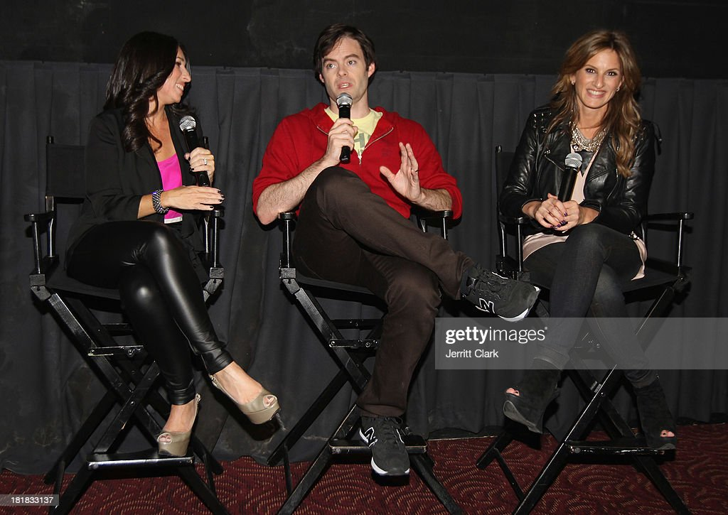Actor Bill Hader (C) answers questions from audience members at The Mom's Screening Of 'Cloudy With A Chance Of Meatballs 2' at AMC Lincoln Square Theater on September 25, 2013 in New York City.