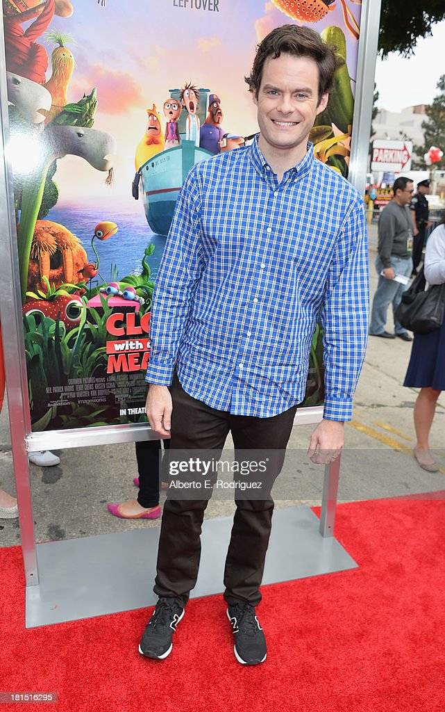 Actor Bill Hader arrives to the premiere of Columbia Pictures and Sony Pictures Animation's 'Cloudy With A Chance of Meatballs 2' at the Regency Village Theatre on September 21, 2013 in Westwood, California.