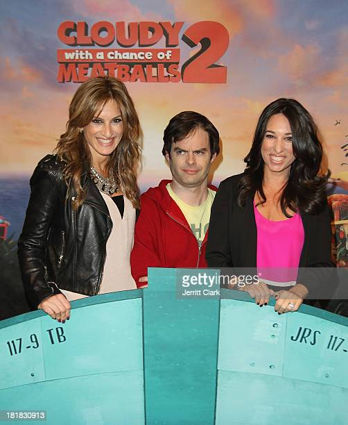 Actor Bill Hader poses with Denise Albert and Melissa Musen Gerstein of The MOMS at The Mom's Screening Of 'Cloudy With A Chance Of Meatballs 2' at...
