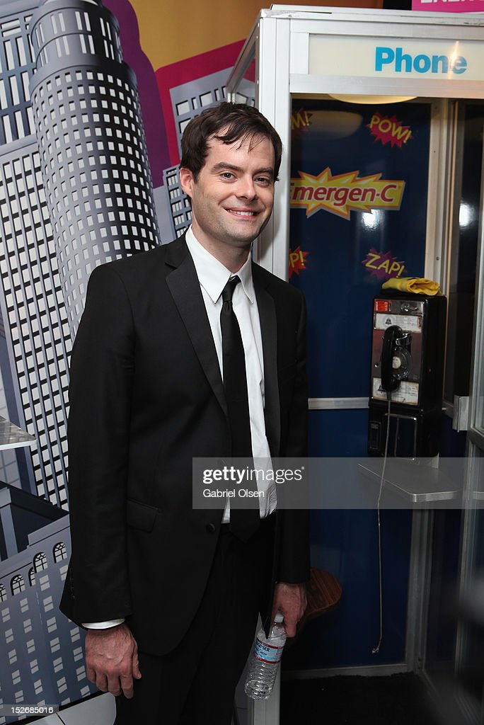 Actor <a gi-track='captionPersonalityLinkClicked' href=/galleries/search?phrase=Bill+Hader&family=editorial&specificpeople=757145 ng-click='$event.stopPropagation()'>Bill Hader</a> poses with Emergen-C in the Presenters Gift Lounge Backstage in celebration of the 64th Primetime Emmy Awards produced by On 3 Productions at Nokia Theatre L.A. Live on September 23, 2012 in Los Angeles, California.