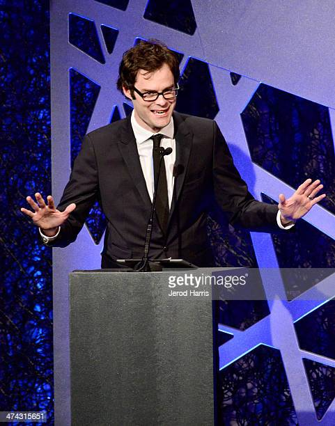 Actor Bill Hader speaks onstage during the 16th Costume Designers Guild Awards with presenting sponsor Lacoste at The Beverly Hilton Hotel on...