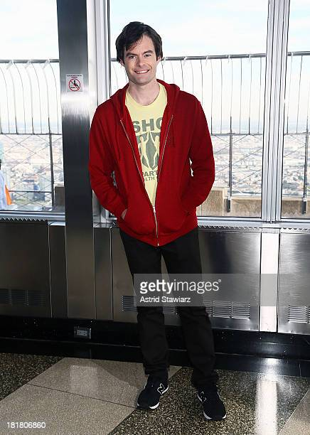 Actor Bill Hader visits The Empire State Building in celebration Of 'Cloudy With A Chance Of Meatballs 2' release on September 25 2013 in New York...