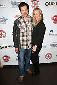 Actor Bill Mendieta and producer Kristyn Burtt attend a Red Sox charity event to benefit The Jimmy Fund Children's Hospital LA's Cancer Researchers...