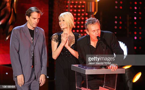 Actor Bill Moseley Paris Hilton and actor Anthony Head during the 2007 Spike TV Scream Awards at The Greek Theater on October 19 2007 in Los Angeles...