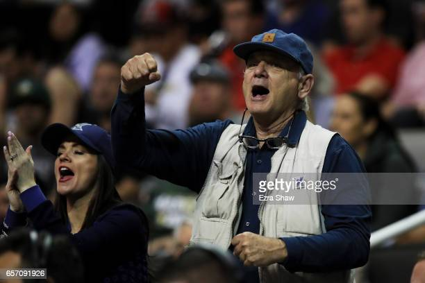 Actor Bill Murray attends the game between the Arizona Wildcats and the Xavier Musketeers during the 2017 NCAA Men's Basketball Tournament West...