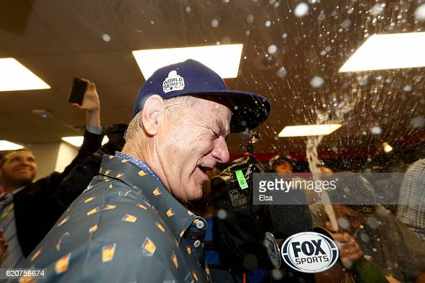 Actor Bill Murray celebrates in the clubhouse after the Chicago Cubs defeated the Cleveland Indians 87 in Game Seven of the 2016 World Series at...