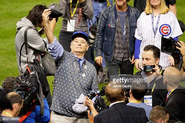Actor Bill Murray celebrates on the field after the Chicago Cubs defeated the Cleveland Indians 87 in Game Seven of the 2016 World Series at...