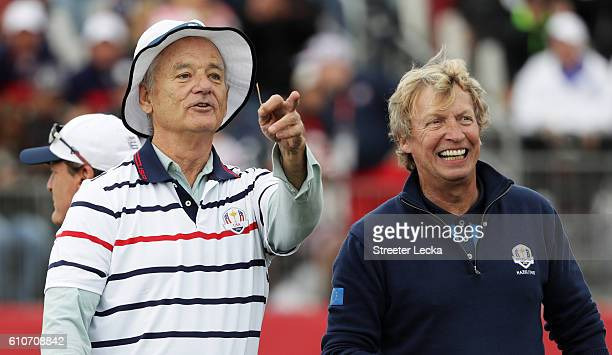 Actor Bill Murray of the United States and TV personality Nigel Lythgoe look on during the 2016 Ryder Cup Celebrity Matches at Hazeltine National...