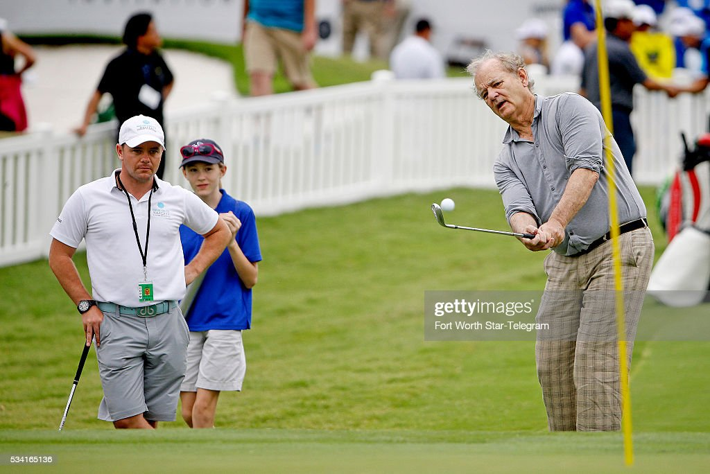 Actor Bill Murray, paired with pro Jordan Spieth on a noon tee time, gets practice in on one of the practice greens before today's Colonial Pro-Am at the Dean & Deluca Invitational on Wednesday, May 25, 2016, in Fort Worth, Texas.