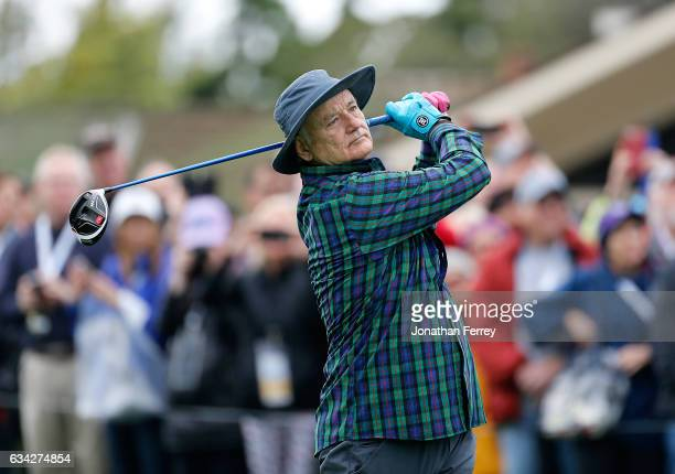 Actor Bill Murray plays in the 3M Celebrity Challenge during a practice round for the ATT Pebble Beach ProAm at Pebble Beach Golf Links on February 8...