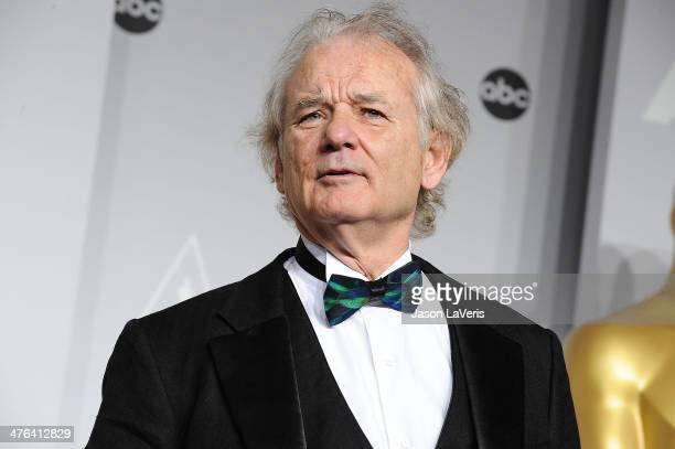 Actor Bill Murray poses in the press room at the 86th annual Academy Awards at Dolby Theatre on March 2 2014 in Hollywood California