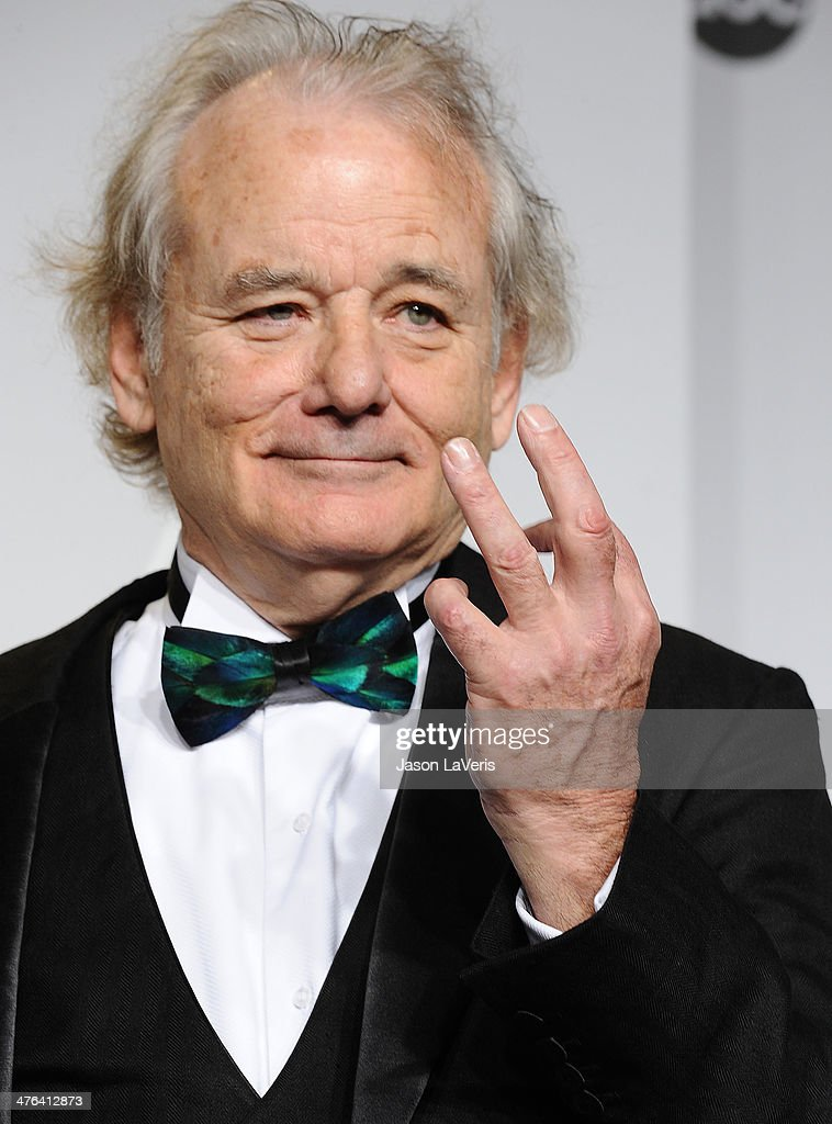 Actor <a gi-track='captionPersonalityLinkClicked' href=/galleries/search?phrase=Bill+Murray&family=editorial&specificpeople=171116 ng-click='$event.stopPropagation()'>Bill Murray</a> poses in the press room at the 86th annual Academy Awards at Dolby Theatre on March 2, 2014 in Hollywood, California.
