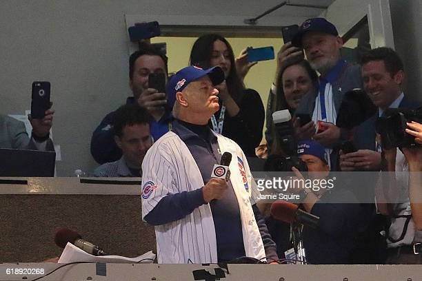 Actor Bill Murray sings 'Take Me Out to the Ballgame' in the seventh inning in Game Three of the 2016 World Series between the Chicago Cubs and the...