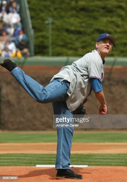 Actor Bill Murray throws the ceremonial first pitch prior to the Chicago Cubs home opener against the Pittsburgh Pirates on April 12 2004 at Wrigley...