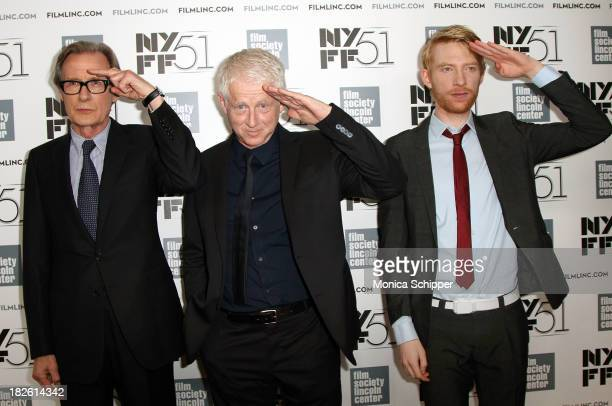 Actor Bill Nighy director Richard Curtis and actor Domhnall Gleeson attend the 'About Time' premiere during the 51st New York Film Festival at Alice...