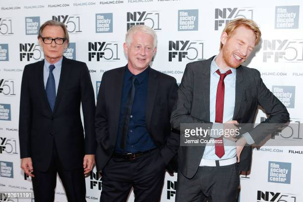 Actor Bill Nighy filmmaker Richard Curtis and actor Domhnall Gleeson attend the 'About Time' premiere during the 51st New York Film Festival at Alice...