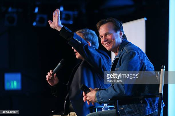Actor Bill Paxton and George Prentice speak to the audience at the 4th Annual Sun Valley Film Festival Hollywood Heritage Screening of 'Apollo 13' on...