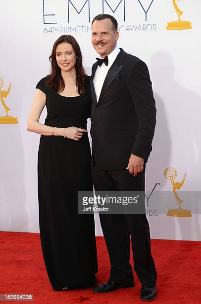 Actor Bill Paxton and his wife Louise Newbury arrive at the 64th Primetime Emmy Awards at Nokia Theatre LA Live on September 23 2012 in Los Angeles...